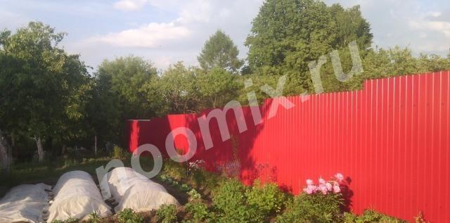 Забор-Профлист, рабица, штакетник, кирпичные столбы, Смоленская область
